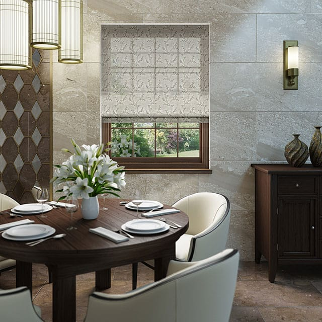 roomset showing semi opaque roman in a modern dining room